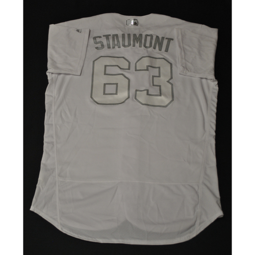 "Photo of Josh ""STAUMONT"" Staumont Kansas City Royals Game-Used 2019 Players' Weekend Jersey"