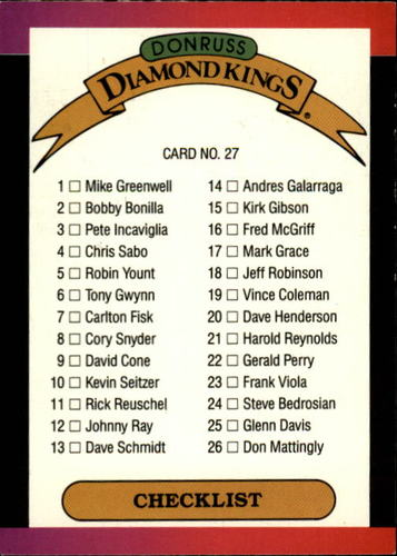 Photo of 1989 Donruss #27 DK Checklist 1-26 DP