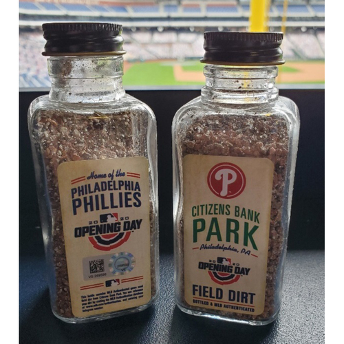 Photo of Philadelphia Phillies 2020 Opening Day Game-Used Bottle of Dirt
