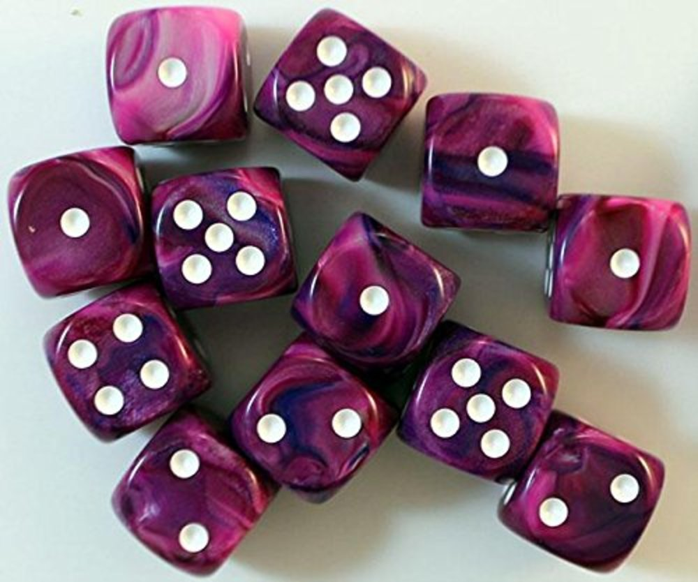 Photo of Chessex d6 16mm Violet w/White (12)