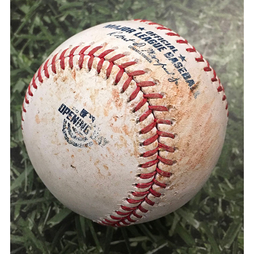 Photo of Game-Used Home Opener Baseball CHW@MIL 08/03/20 - Corbin Burnes - Yoan Moncada: Foul
