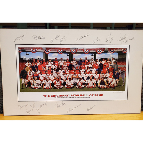 "Photo of Reds Hall of Fame Inductee Purdom Matted Print - Autographed - 17.5""x29"""