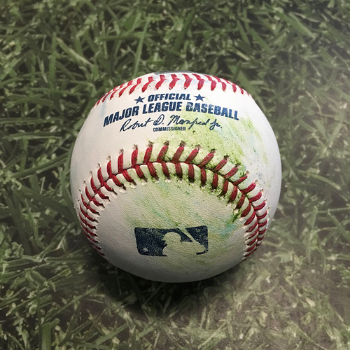 Photo of Batting Practice Used Baseball 05/01/21 - Baseball Hit Over Fence by Max Muncy During Batting Practice