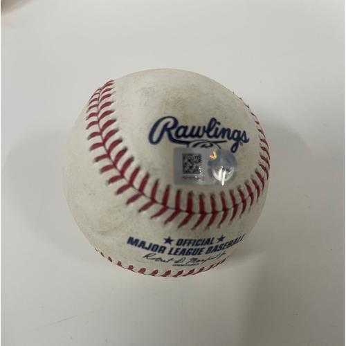Photo of Game Used Baseball - 4/22/2021 Yankees at Indians - Jose Ramirez Doubles off Pitcher Domingo German