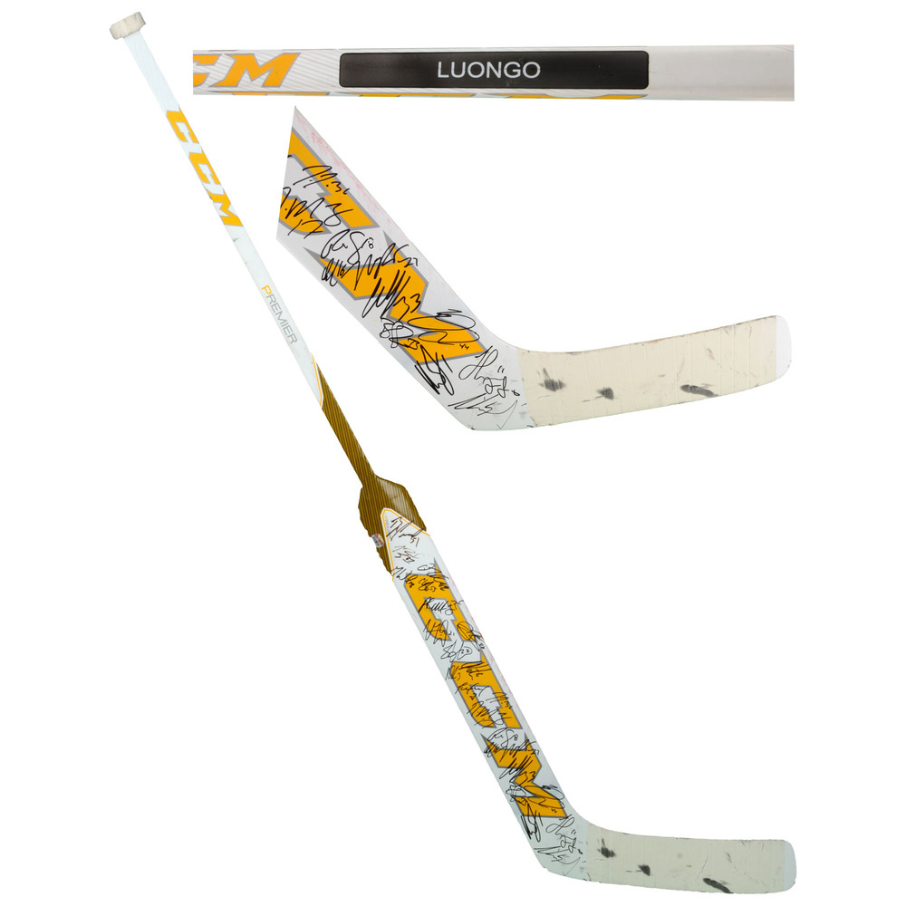 Roberto Luongo Florida Panthers Game-Used Goalie Stick from the 2015-16 season With 24 Signatures