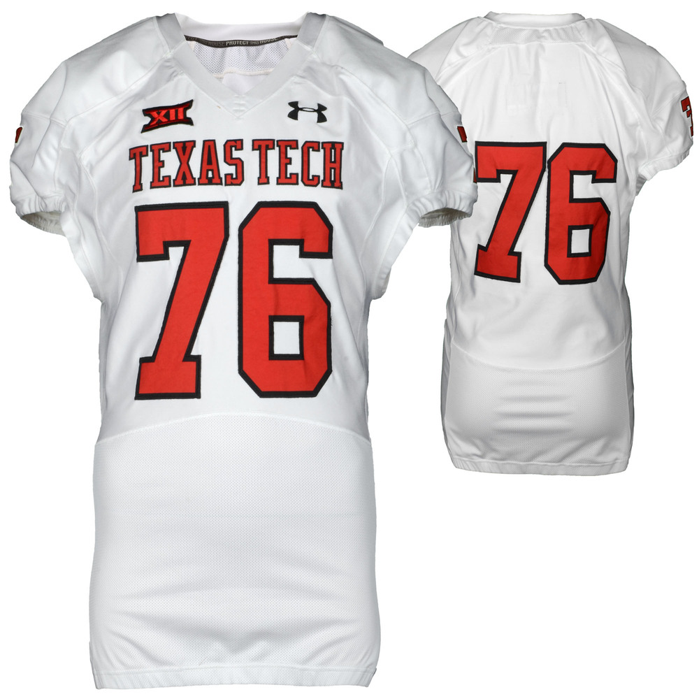 Texas Tech Red Raiders Game-Used White #76 Jersey Used During Victories Against Arkansas and Texas during the 2015 Season - Size 50