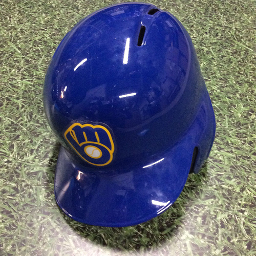 Photo of Ryan Braun 2017 Game-Used Royal Ball & Glove Batting Helmet