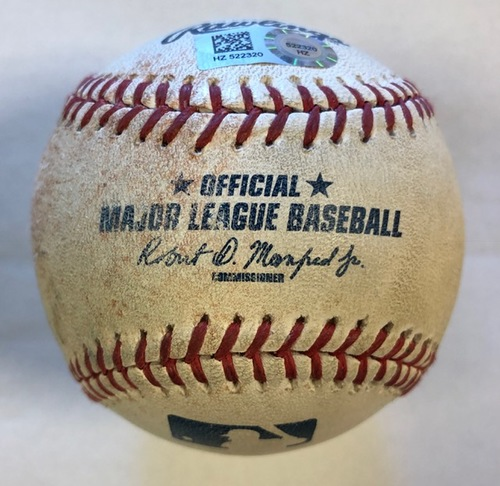 Photo of Game-Used Baseball (Batter - Raul Mondesi Pitcher - Blake Snell Inning - Top 6 Action - Groundout to 2B,  Also pop up to SS by Orlando Arcia)