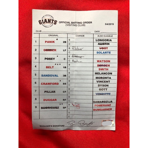 Photo of Nick Senzel -- First Career Home Run Game -- Manager's Official Batting Order Card (Giants Lineup) -- SF vs. CIN on May 4, 2019