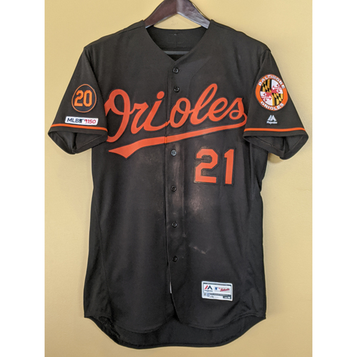 Photo of Austin Hays - Black Alternate Jersey: Game-Used