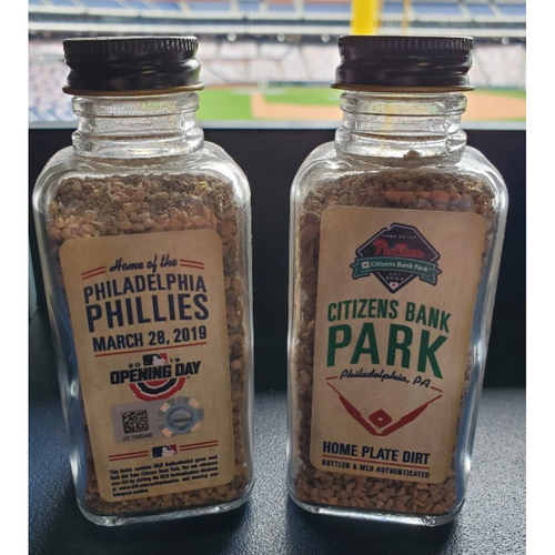 Photo of Philadelphia Phillies 2019 Opening Day Game-Used Bottle of Dirt