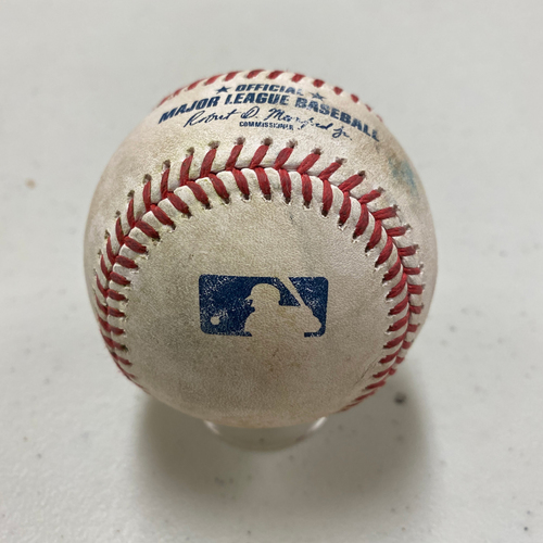Photo of 2020 Game Used Baseball used on 8/27 Game 1 vs. 2020 WS Champions Los Angeles Dodgers - B-2: Clayton Kershaw to Joey Bart - Swinging Strike 2 on a Curveball