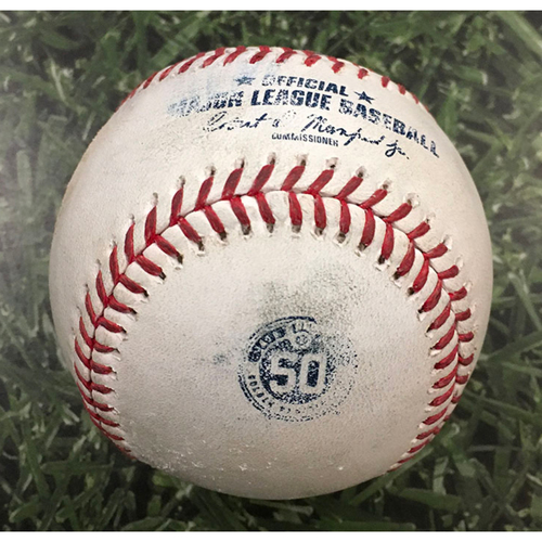 Photo of Game-Used Baseball CIN@MIL 08/09/20 - Brandon Woodruff - Nick Castellanos: Foul