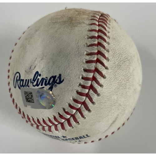 Photo of Game-Used Baseball - Giancarlo Stanton Singles Against Pitcher Shane Bieber - Yankees at Indians - 4/24/2021