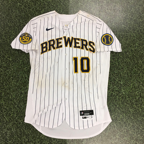 Photo of Omar Narvaez 2020 Team-Issued Home Pinstripe Jersey