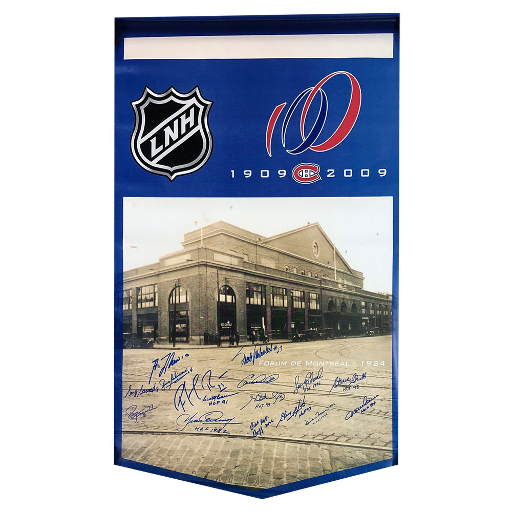 Montreal Canadiens Legends Multi-Signed Centennial Banner - 16 Signatures Including Lafleur, Beliveau & Roy