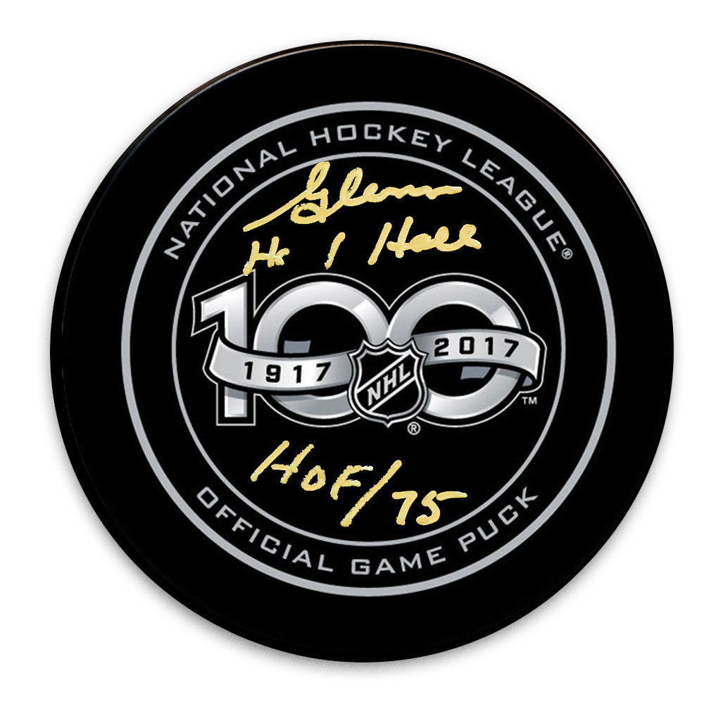 Glenn Hall 100th Year NHL Autographed Official Game Puck Chicago Blackhawks