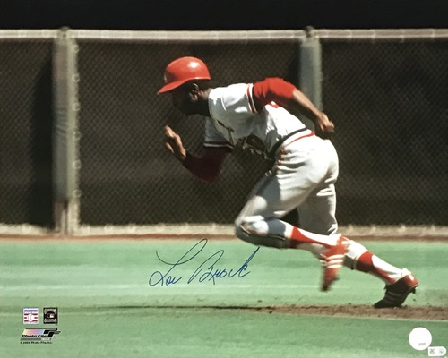Lou Brock Autographed 16x20 Photo (Running)