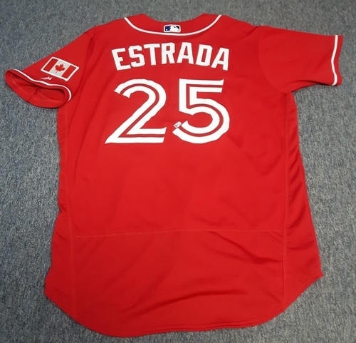 Photo of Authenticated Game Used Jersey - #25 Marco Estrada (August 28, 2016 - Canada Baseball Day). Size 46.
