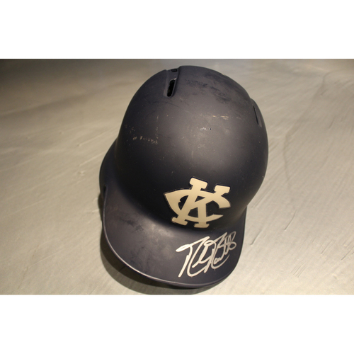 Photo of Game-Used & Autographed Batting Helmet: Mike Moustakas (DET at KC - 5/6/18)