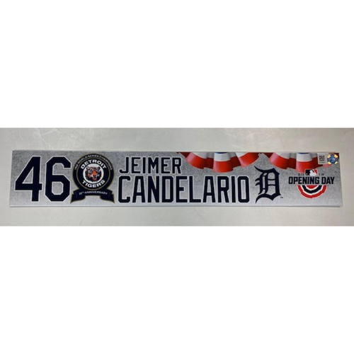 Photo of Game-Used 2018 Opening Day Locker Name Plate: Jeimer Candelario