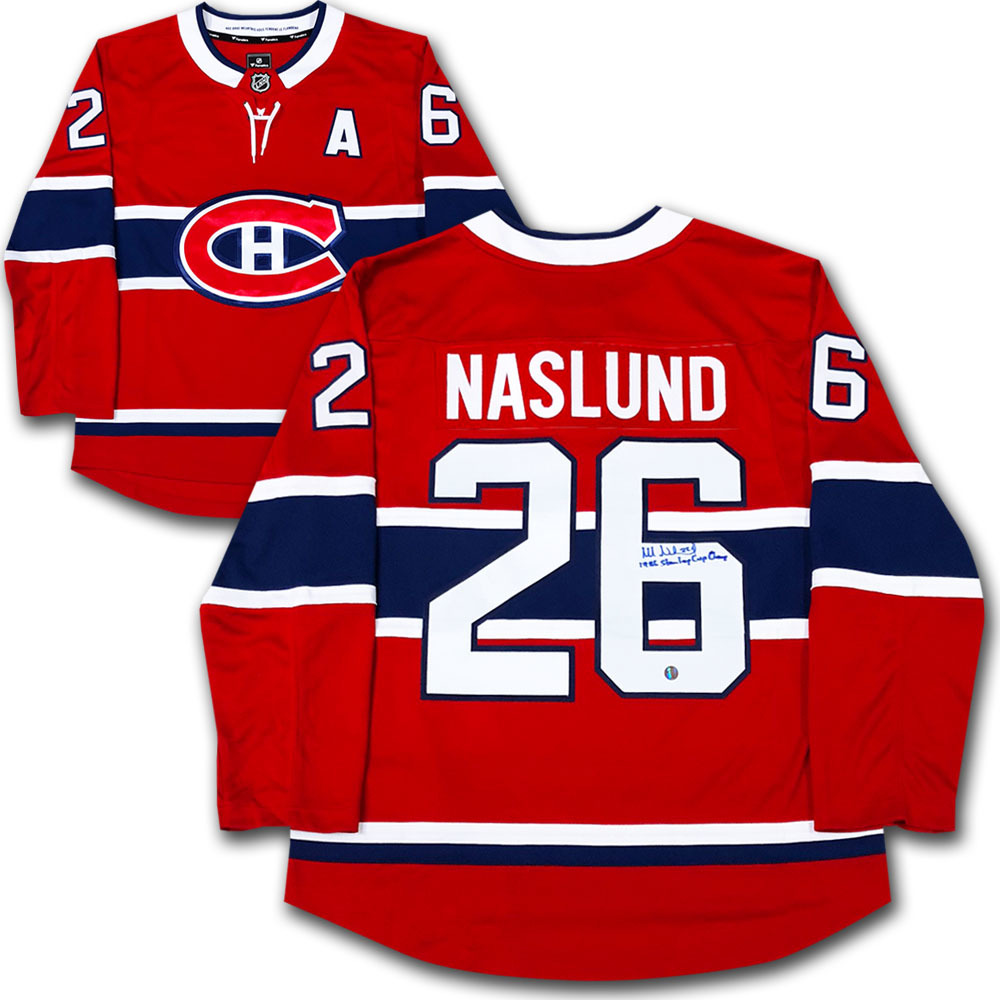Mats Naslund Autographed Montreal Canadiens Jersey w/1986 STANLEY CUP CHAMP Inscription