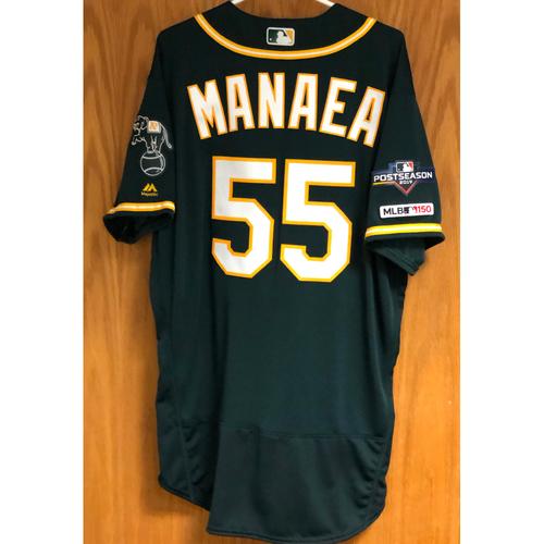 "Photo of Team Issued Sean Manaea Jersey w/ ""MLB 150"" & ""2019 Postseason"" Patch"