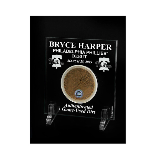 Photo of Bryce Harper Phillies Debut Game-Used Dirt Acrylic Desktop Display