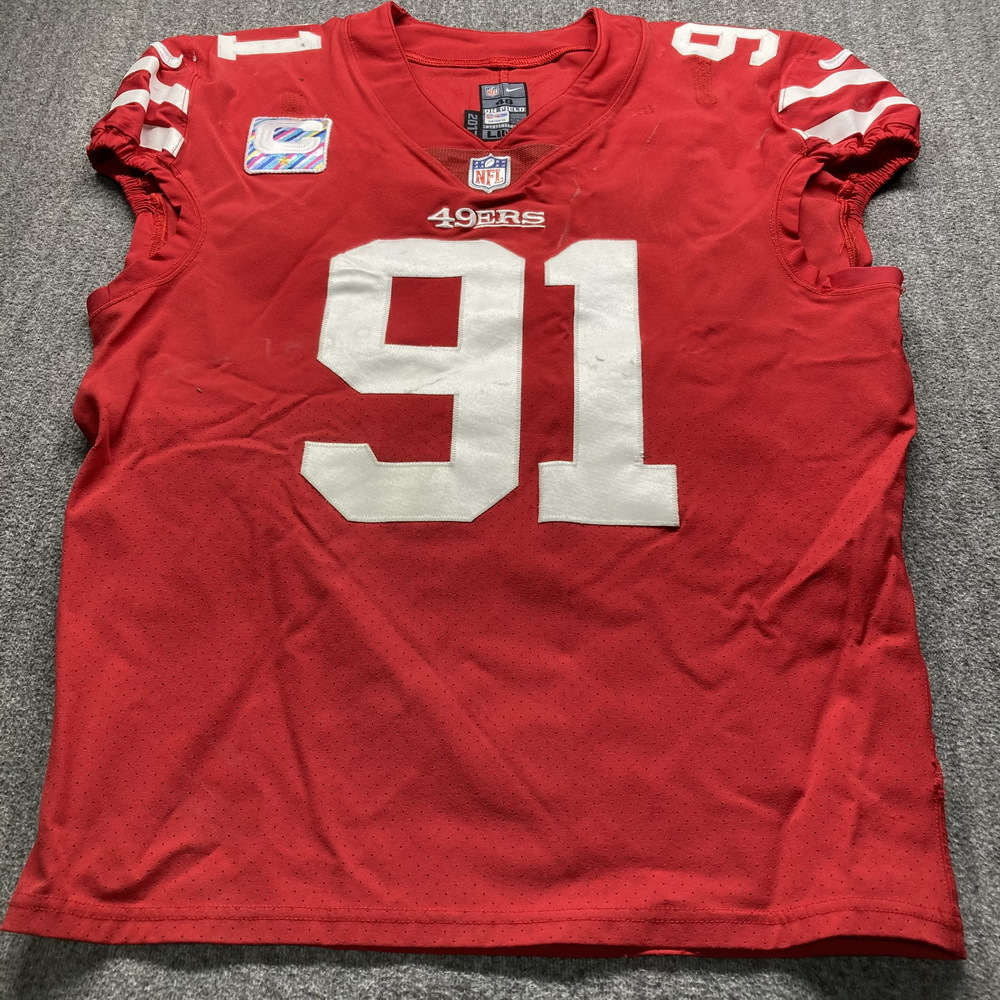 Crucial Catch - 49ers Arik Armstead Game Used Jersey (10/4/20) Size 40 nW/ Captains Patch