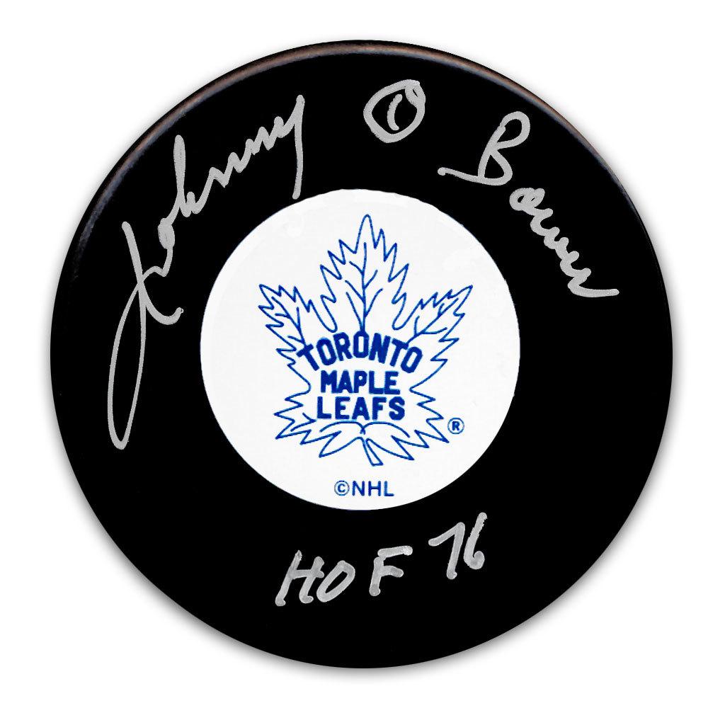 Johnny Bower Toronto Maple Leafs HOF Original 6 Autographed Puck