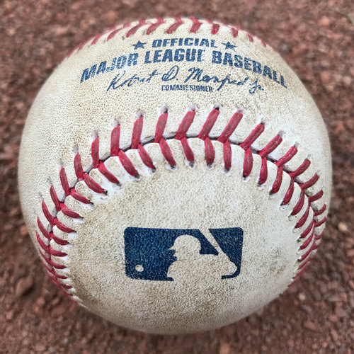 San Francisco Giants - 2017 Game-Used Baseball - Pablo Sandoval Single (August 8th: also, Kelby Tomlinson walk)