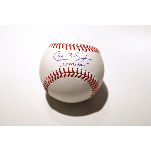 """Photo of Compton Youth Academy Auction: Cal Ripken Jr. Signed Inscribed """"Ironman"""" Baseball - Not Authenticated by MLB"""