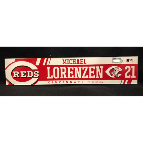 Photo of Michael Lorenzen - Locker Tag - Game-Used from April 6, 2017 - Recorded His Second Career Home Run