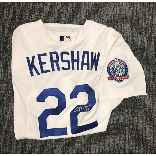 Kirk Gibson Foundation Auction  Clayton Kershaw 2018 Game-Used Autographed  Los Angeles Dodger Jersey 2e94598476a