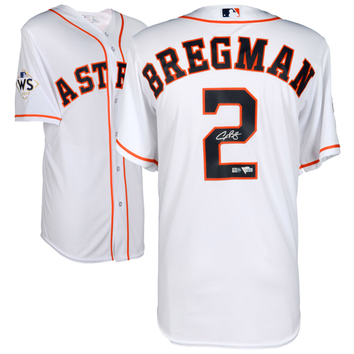 Photo of Alex Bregman Houston Astros 2017 MLB World Series Champions Autographed Majestic World Series White Replica Jersey