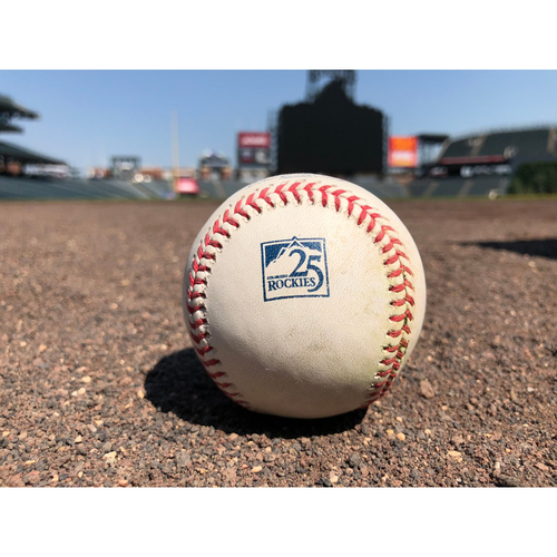 Photo of Colorado Rockies Game-Used Baseball - Marquez v. Anderson - Single to Story - June 24, 2018