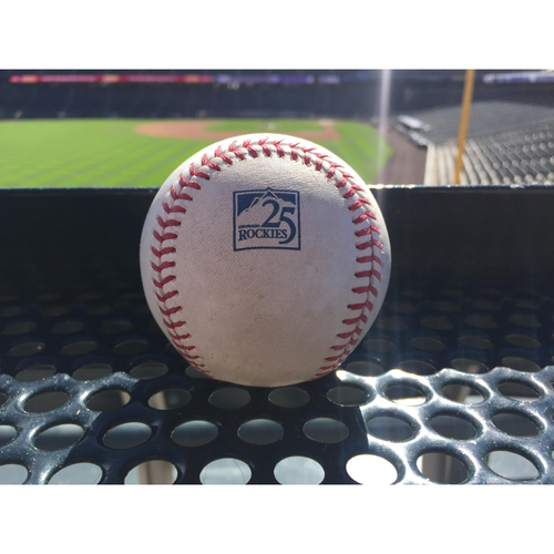 Photo of Colorado Rockies Player-Collected Baseball - McGee v. Harrison - Home Run (7), CervelliScores - August 7, 2018