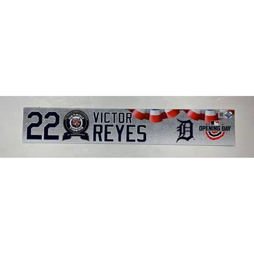 Photo of Game-Used 2018 Opening Day Locker Name Plate: Victor Reyes