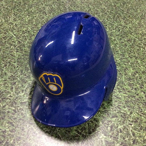 Photo of Jesus Aguilar 2017 Game-Used Royal Ball & Glove Batting Helmet
