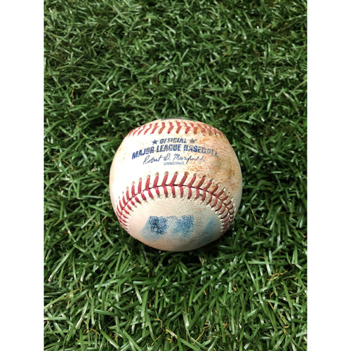 Photo of Game Used Baseball: Tommy Pham strike out and Ji-Man Choi at-bat against Collin McHugh - March 30, 2019 v HOU