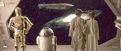 Luke Skywalker, Princess Leia Organa, C-3PO and R2-D2
