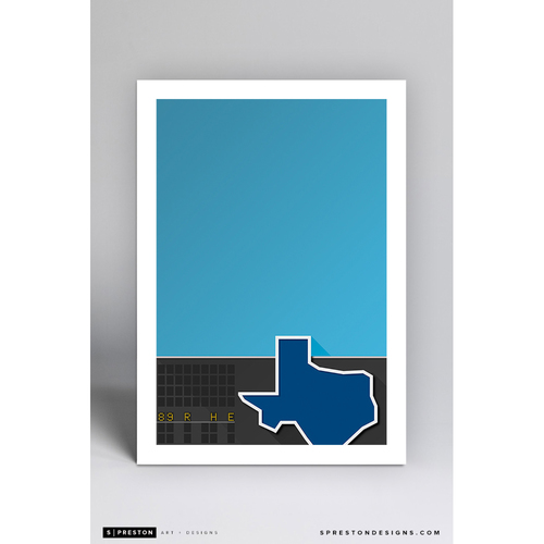 Photo of Arlington Stadium - Minimalist Ballpark Art Print by S. Preston  - Texas Rangers