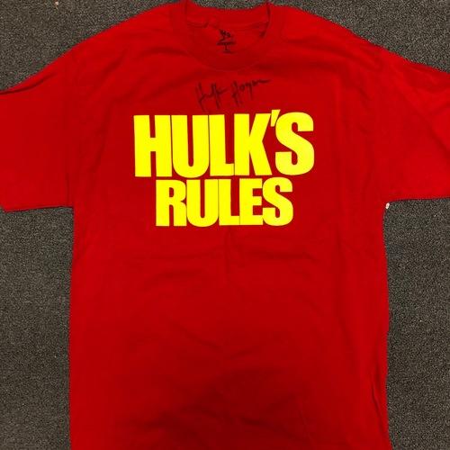 """Photo of Hulk Hogan SIGNED """"Hulk's Rules"""" T-Shirt"""
