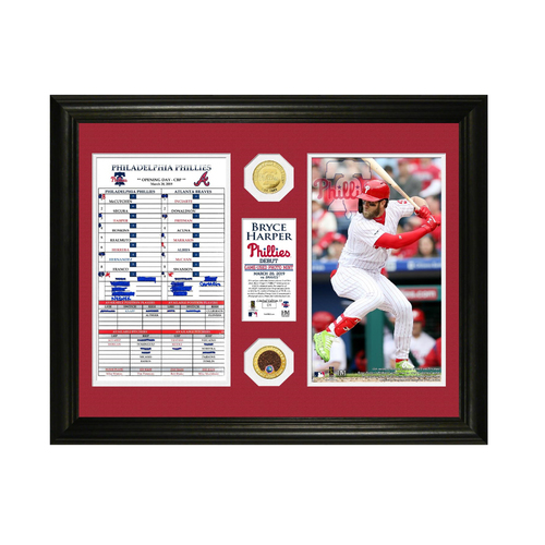 Photo of Bryce Harper Phillies Debut Game-Used Dirt Frame