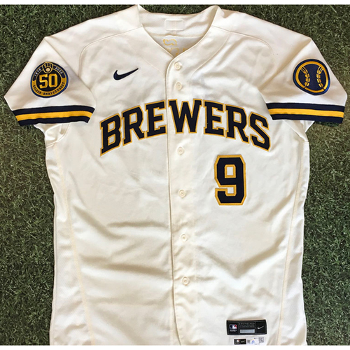 Photo of Manny Pina 08/03/20 Game-Used Home Opener Jersey - 1-2, Single