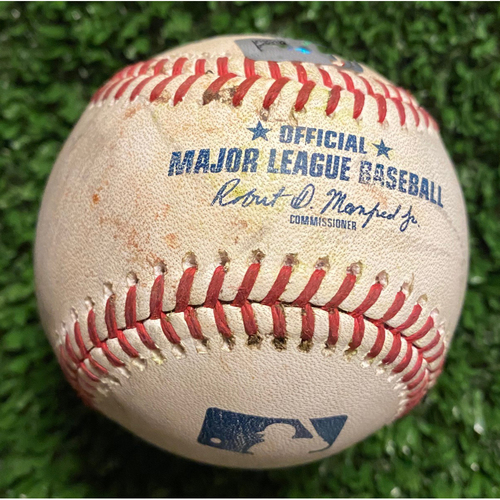 Photo of AJ Pollock Hit Single Baseball of AJ Minter, also pitched to Gavin Lux, Albert Pujols and Austin Barnes - June 5, 2021