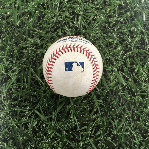 Photo of Game-Used Baseball PIT@MIL 06/30/19 - Steven Brault - Christian Yelich: Foul (Yelich's 1,000th Career Hit Game)