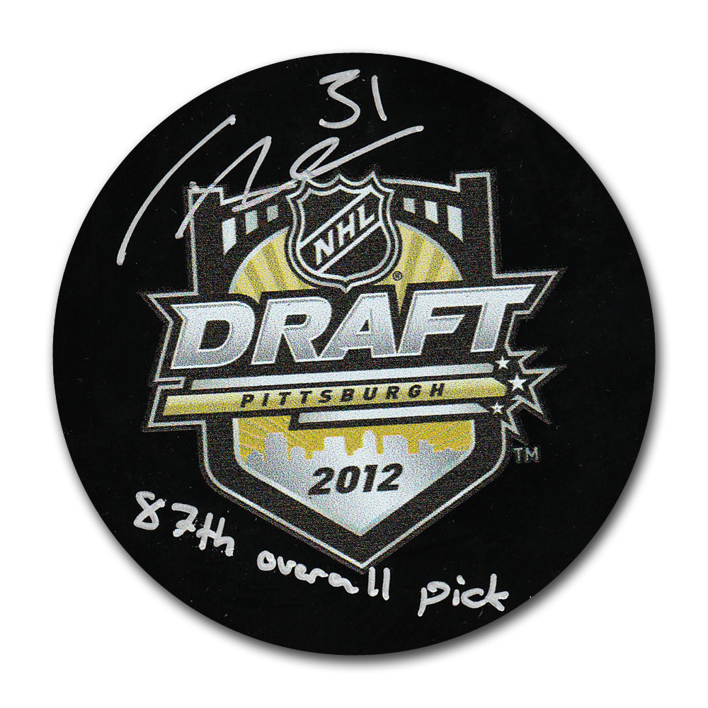 Frederik Andersen Autographed 2012 NHL Entry Draft Puck w/87TH OVERALL PICK inscription