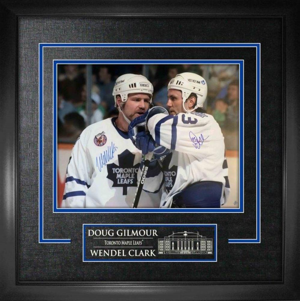 Doug Gilmour / Wendel Clark Dual Signed 16x20 Etched Mat Leafs Talking