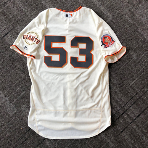 Photo of 2018 San Francisco Giants - #25 Number Retirement Game - Game Used Jersey worn by #53 Austin Slater - jersey features a commemorative patch celebrating #25 Number Retirement on August 11,2018 - Size 46